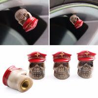 Novelty Red 4pcs Skull Head Car Wheel Tyre Tire Air Valve Stem Caps Dust Cover