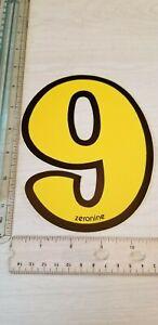 "old school ZeroNine BMX Yellow & Black number plate # 9 NOS 6.5"" big fat wide"