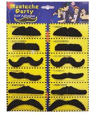 12 Self Adhesive Fake Moustache Mustache Halloween Fancy Dress Party Costume