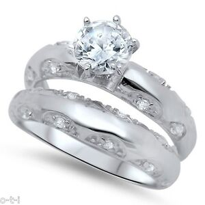 Brilliant Clear CZ Engagement Wedding Sterling Silver Ring