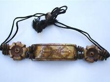 Delicate Vintage Adjustable Tibetan Carved Double Dorje Yak Bone Beaded Bracelet