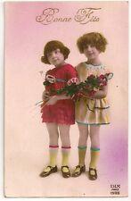 Carte postale ancienne Colorisée Bonne Fête Enfant Fleur 1926