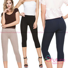 PREMIUM Quality Leggings Cropped 3/4 Length Not See Through Cotton Pants F34PR