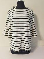 NWT - Max Studio Black & White Striped Blouse - Size Large - MSRP: $88