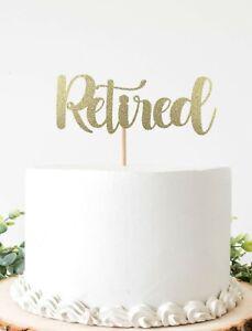 Retired Cake Topper For Retirement Party Double Sided Glitter Cardstock