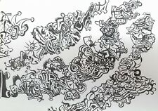 Schneider Signed! Original Pen and Ink Drawing Abstract Black and White Art