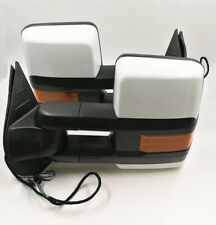 For 07-13 Silverado Painted White Tow Mirror Power+Heated Amber LED Turn Signal