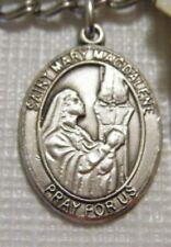 MEDAL ST. MARY MAGDALENE STERLING SILVER BLISS NWOT 3/4 IN. 3.4 GR. BLANK BACK