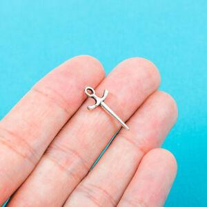 30 pcs FENCING SWORD Charm Tibet silver Charms Pendants DIY Jewellery Making