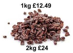 Raw Cacao Nibs Organically Grown in Peru 100g 250g 500g 1kg 2kg BBE July 2022
