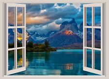 Lake & Mountains Beautiful Window View Color Wall Sticker Wall Mural 26x36