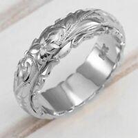 Damen Ring Band Ring Blume Fingerring Verlobungsring Edelstahl Ringe Schmuck