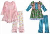 NEW Boutique Girls Pink Green Long Sleeve Ruffle Tunic Dress Leggings Outfit