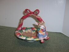 Fitz and Floyd 1992 Bunny Bonnet Hill Strawberry Basket