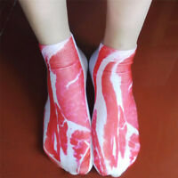Funny Novelty Meat Socks Weird Vegan Chef Bacon Steak Beef Pork Joke Gag Gift KP