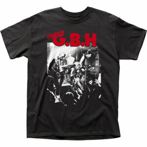 Charged GBH Live Photo T Shirt Mens Licensed Rock N Roll Music Band Tee Black