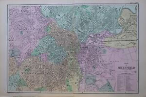 1895 MAP PLAN OF SHEFFIELD CANAL WHARF GAS WORKS MARKET STATION CHURCH SCHOOLS