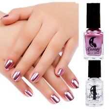 2Pcs 6ml Metallic Nail Polish & Base Coat Nail Art Mirror Effect Purple Varnish
