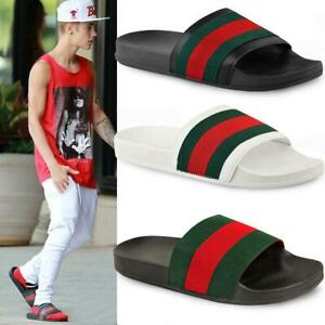 Mens Guys Flat Rubber Slides Sliders Stripe Sandals Pool Beach Designer New Size