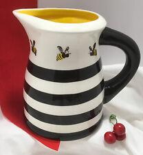 New listing Terramoto Ceramic 7� Pitcher: Black & White Striped +Yellow + Bees Farmhouse