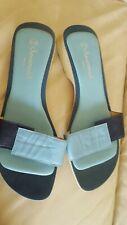 Savannah Collection  Navy & Blue Leather Slip On Sandals Low Heel ,UK7/EU 40 vgc