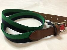 NWT Polo Ralph Lauren Men's Striped Stretch Belt Navy/green with leather 38