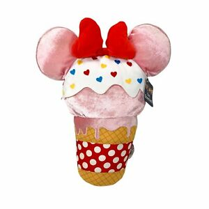 """Disney Parks 20"""" Scented Minnie Mouse Pink Ice Cream Cone Plush Pillow"""