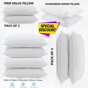 Duck Feather & Down Pillows Extra Filled Hotel Quality Pillow PACK of 2, 4 & 6