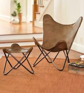 Leather Butterfly Chair Replacement Leather Brown Cover-Handmade Genuine Butterf