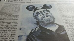 CHARLIE DANIELS. Country singer.  Times Obituary UK NEWSPAPER CUTTING 28.8.20