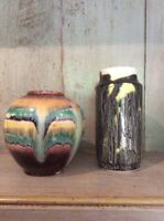 Two StunningStudio Art Pottery Drip Glaze Small Vases VGC