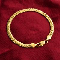 Fashion Retro Men Women Gold Plated 18K Flat Bangle Chain Bracelet Jewelry 5MM