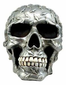 "Metallic Finish Diamond Plate Skull Figurine 4.5""L Resin Cranium Ghost Statue"