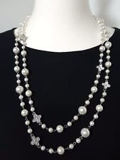 Designer Inspired Necklace Pearls Crystals Flowers Silver Tone Reversible NEW