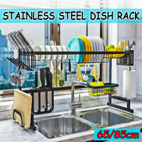 2-Tier Dish Drainer Rack Storage Drip Tray Sink Drying Wired Draining Plate Bowl