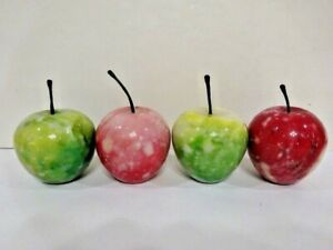 ALABASTER MARBLE STONE FRUIT (4) APPLES UNKNOWN-E