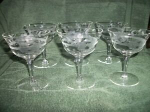 6 Vintage grape Etched Champagne Sherbet Stemware