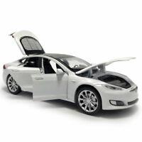 1:32 Tesla Model S 100D Die Cast Modellauto Spielzeug Sammlung Weiß Ton Licht