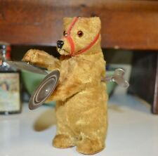 Antique German Golden Cinnamon Mohair Bear Circa 1900 Glass Eyes Wind Up Symbols