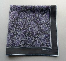 Auth Vtg Signed Christian Dior Pure Silk Pocket Square Black with Paisley Print