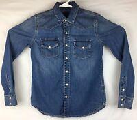 Lucky Brand Western Pearl Snap Denim Shirt Mens XS Blue Jean Long Sleeve