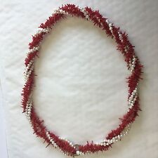 And Pearl Necklace 62cm Deco Style Beautiful Vintage Intwined Branch Red Coral