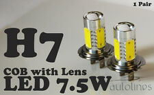 2 x H7 7.5W 12V 600LM LED COB Lens Xenon Super White Fog Lamp Globes Bulbs
