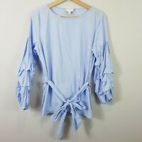 [ WITCHERY ] Womens Striped Blouse Top w/ ruffle sleeves | Size AU 10 or US 6