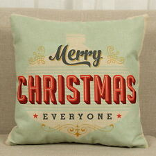 Cotton Linen Christmas Deer Pillow Case Cushion Cover Sofa Car Decor Xmas Party 2