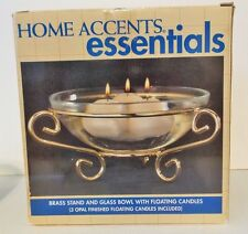 Home Accents Essentials Brass Stand and Glass Bowl with floating candles