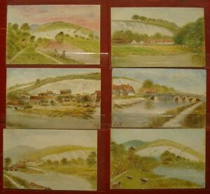 Antique Original Watercolor Miniature Paintings Quaint Collection of Six