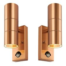 2 x Copper Outdoor PIR Sensor Porch Outside Wall Door Patio House Garden Light