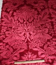 """French Antique c1880 Double Frame Jacquard Red Silk Panel~1yd18""""Lx50""""W"""