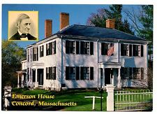 Emerson House Concord Massachusetts Postcard Ralph Waldo Unposted Flag Author